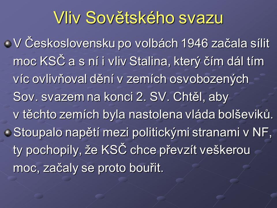Vliv Sovětského svazu V Československu po volbách 1946 začala sílit