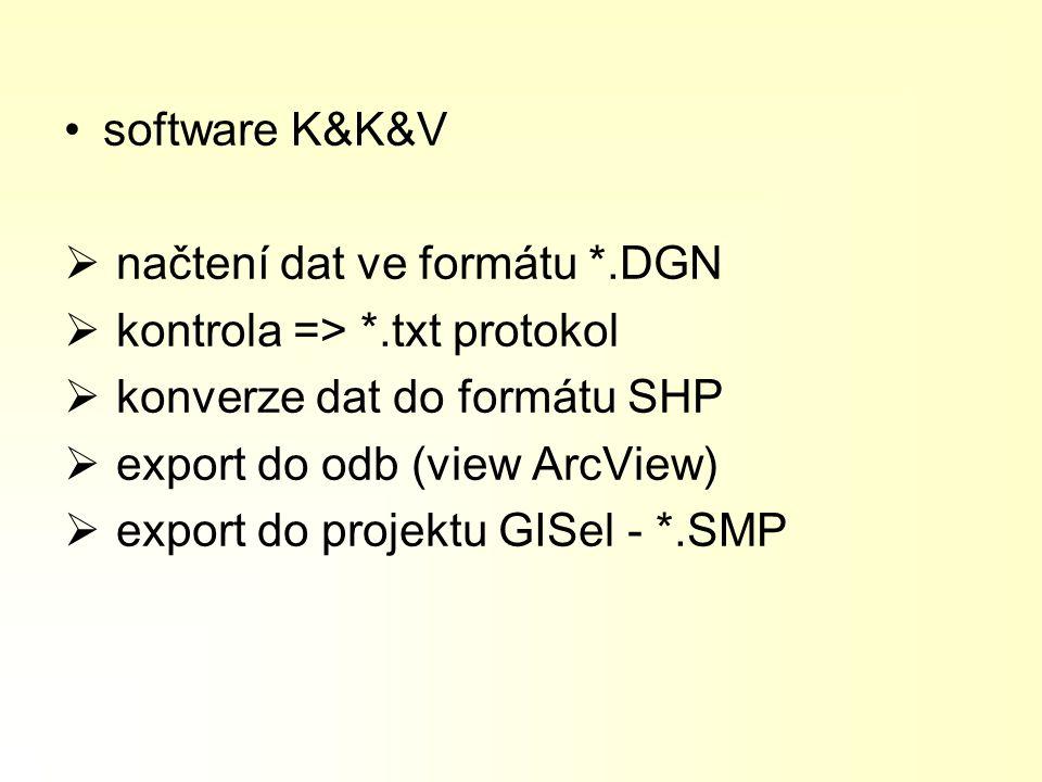 software K&K&V načtení dat ve formátu *.DGN. kontrola => *.txt protokol. konverze dat do formátu SHP.