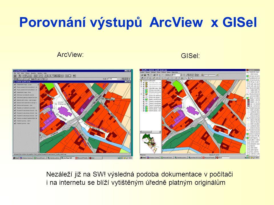 Porovnání výstupů ArcView x GISel