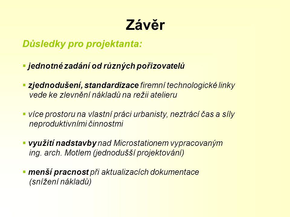 Závěr Důsledky pro projektanta:
