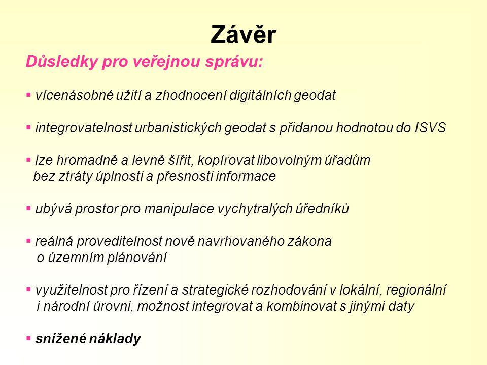 Závěr Důsledky pro veřejnou správu: