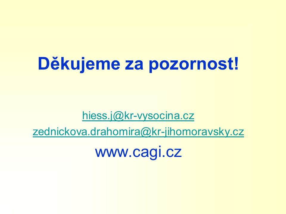 Děkujeme za pozornost! www.cagi.cz hiess.j@kr-vysocina.cz