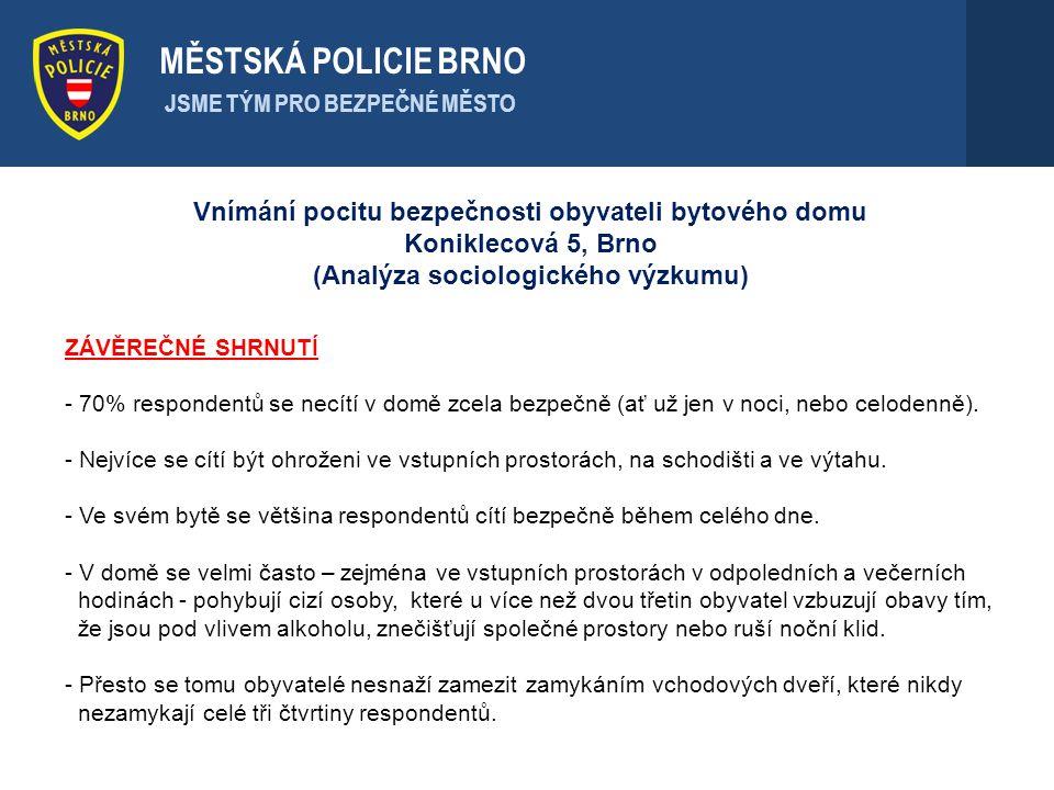 . MĚSTSKÁ POLICIE BRNO. JSME TÝM PRO BEZPEČNÉ MĚSTO. Vnímání pocitu bezpečnosti obyvateli bytového domu Koniklecová 5, Brno.