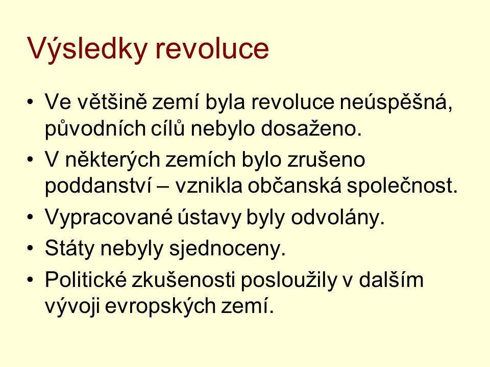 Výsledky revoluce Ve většině zemí byla revoluce neúspěšná, původních cílů nebylo dosaženo.