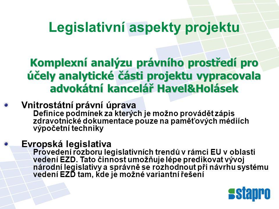 Legislativní aspekty projektu Komplexní analýzu právního prostředí pro účely analytické části projektu vypracovala advokátní kancelář Havel&Holásek