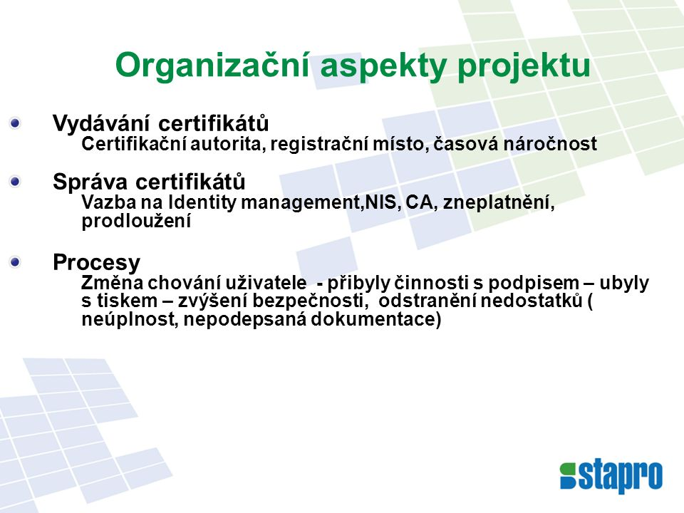 Organizační aspekty projektu
