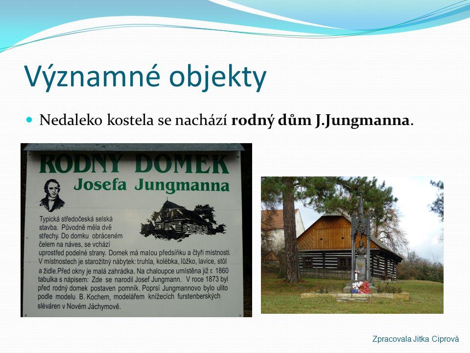 Významné objekty Nedaleko kostela se nachází rodný dům J.Jungmanna.