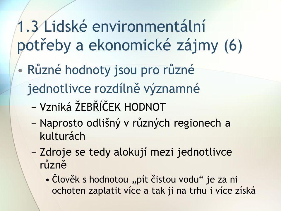 1.3 Lidské environmentální potřeby a ekonomické zájmy (6)