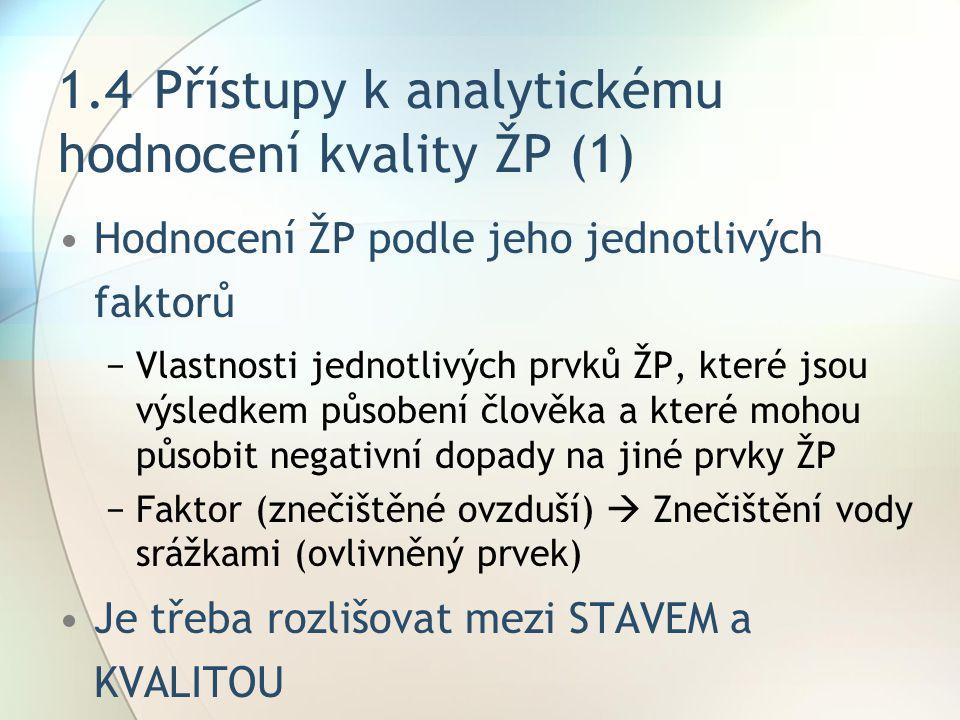 1.4 Přístupy k analytickému hodnocení kvality ŽP (1)
