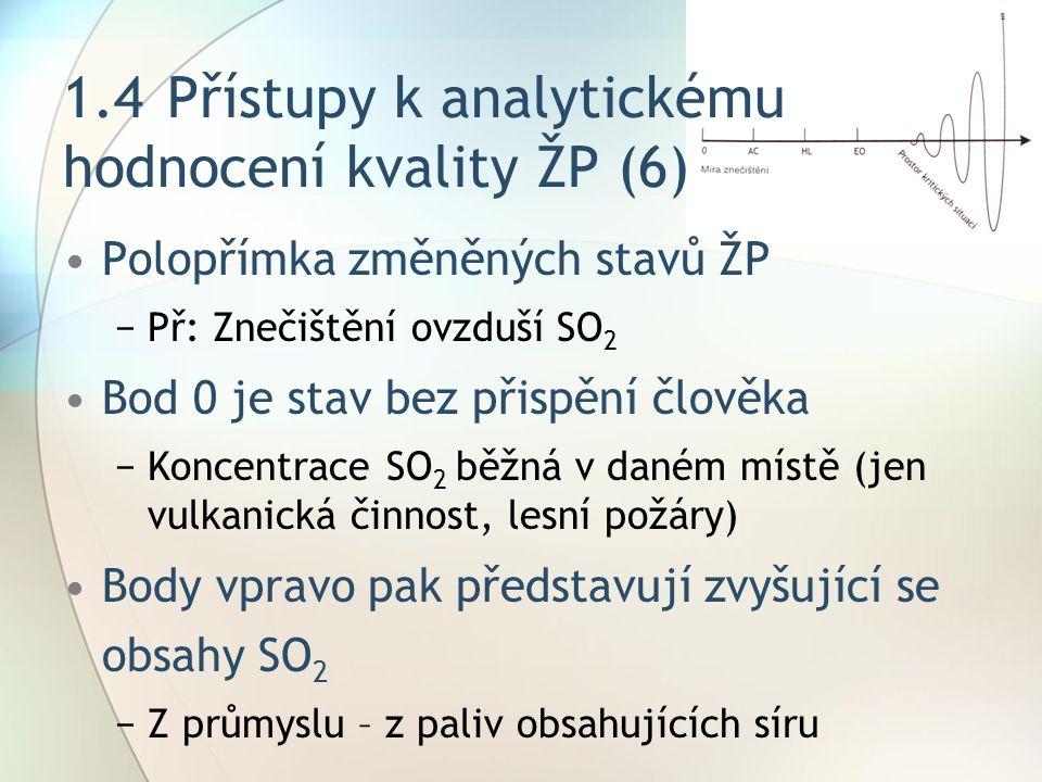 1.4 Přístupy k analytickému hodnocení kvality ŽP (6)