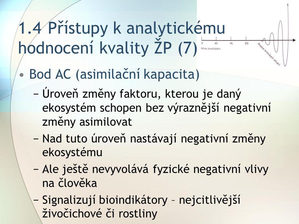 1.4 Přístupy k analytickému hodnocení kvality ŽP (7)