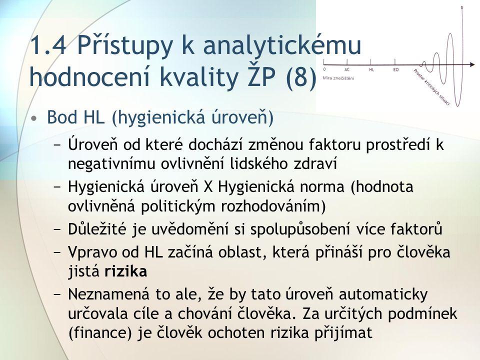 1.4 Přístupy k analytickému hodnocení kvality ŽP (8)