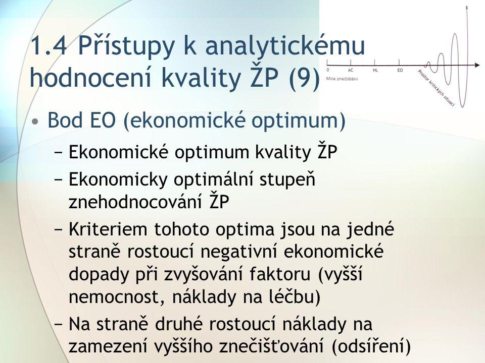 1.4 Přístupy k analytickému hodnocení kvality ŽP (9)