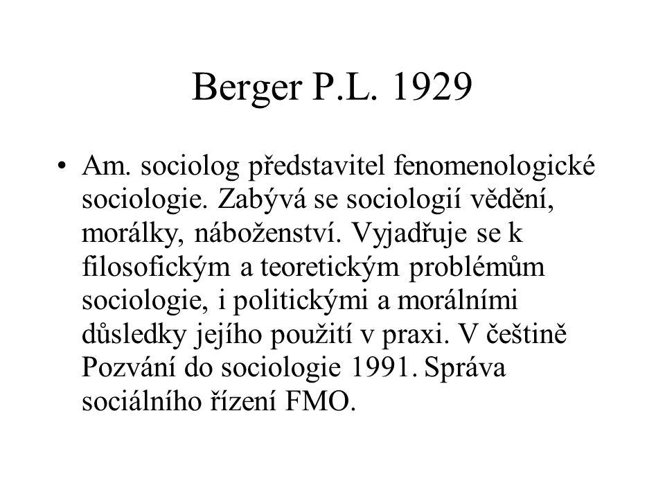 Berger P.L. 1929