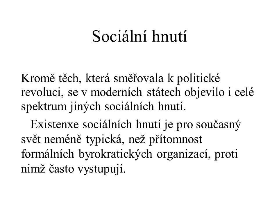 Sociální hnutí Kromě těch, která směřovala k politické revoluci, se v moderních státech objevilo i celé spektrum jiných sociálních hnutí.