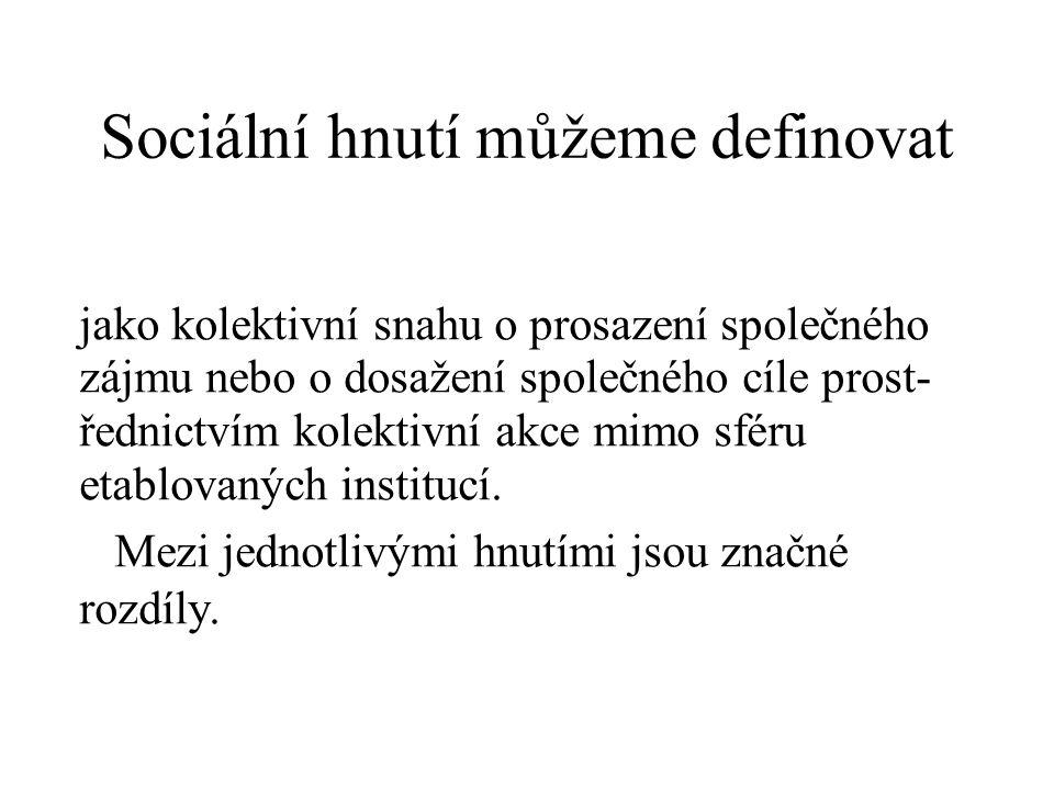Sociální hnutí můžeme definovat