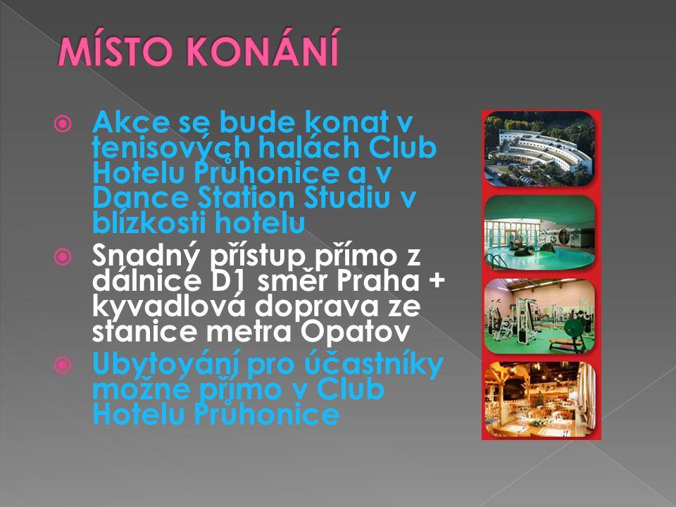 MÍSTO KONÁNÍ Akce se bude konat v tenisových halách Club Hotelu Průhonice a v Dance Station Studiu v blízkosti hotelu.