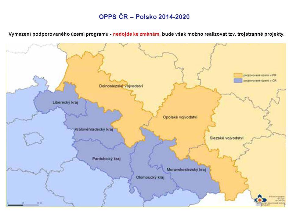 OPPS ČR – Polsko 2014-2020 Vymezení podporovaného území programu - nedojde ke změnám, bude však možno realizovat tzv.