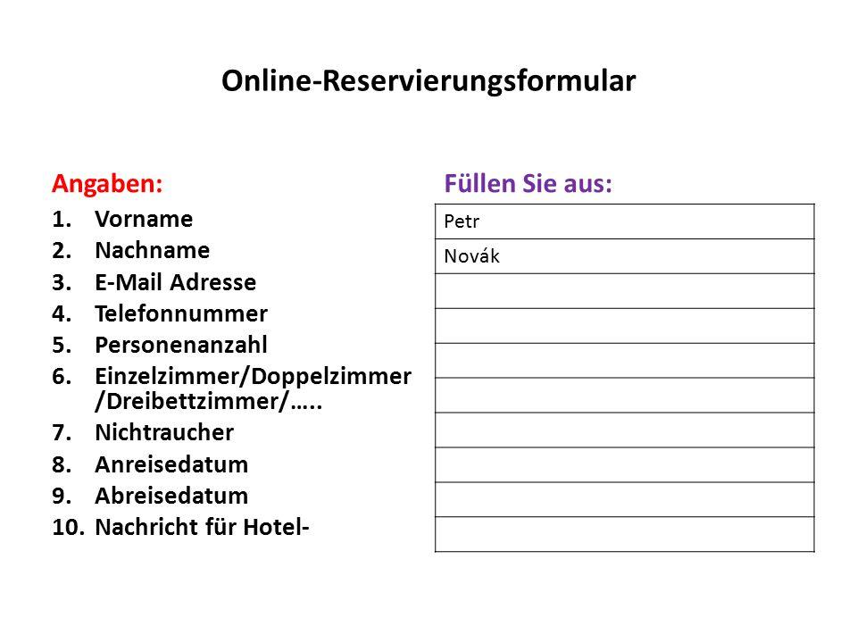 Online-Reservierungsformular