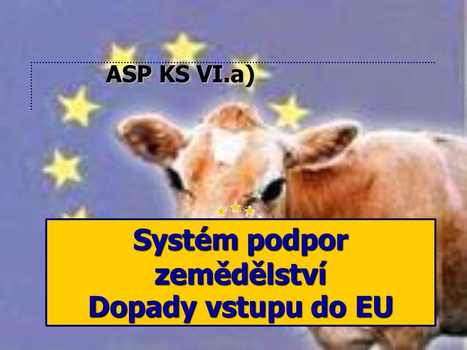 Systém podpor zemědělství Dopady vstupu do EU