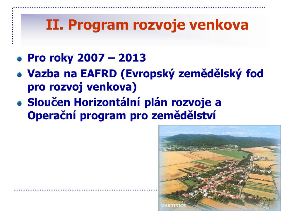 II. Program rozvoje venkova