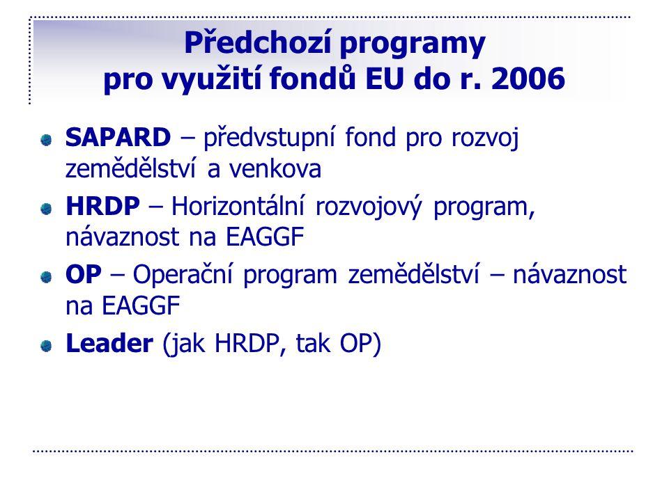 Předchozí programy pro využití fondů EU do r. 2006