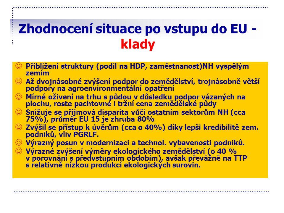 Zhodnocení situace po vstupu do EU - klady