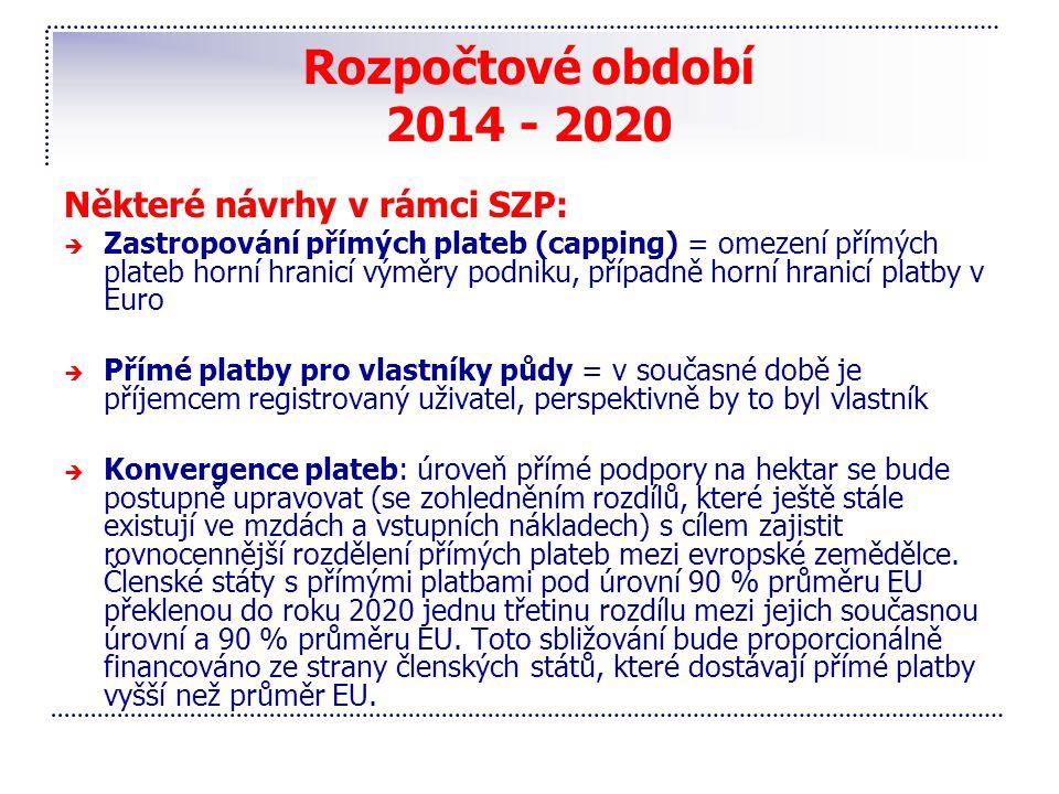 Rozpočtové období 2014 - 2020 Některé návrhy v rámci SZP: