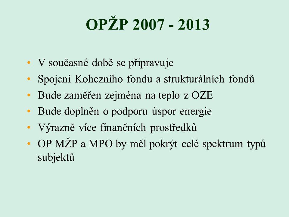 OPŽP 2007 - 2013 V současné době se připravuje