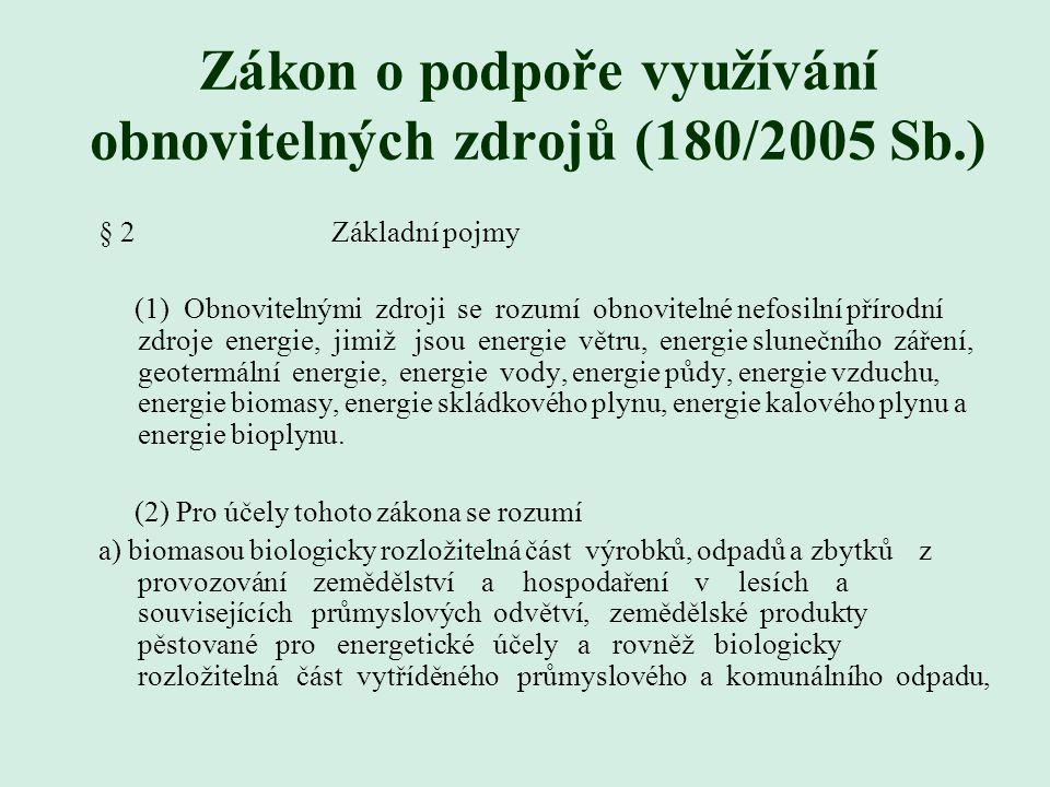 Zákon o podpoře využívání obnovitelných zdrojů (180/2005 Sb.)