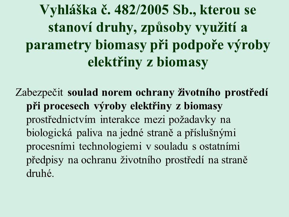 Vyhláška č. 482/2005 Sb., kterou se stanoví druhy, způsoby využití a parametry biomasy při podpoře výroby elektřiny z biomasy