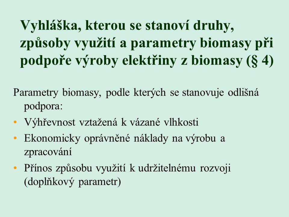 Vyhláška, kterou se stanoví druhy, způsoby využití a parametry biomasy při podpoře výroby elektřiny z biomasy (§ 4)