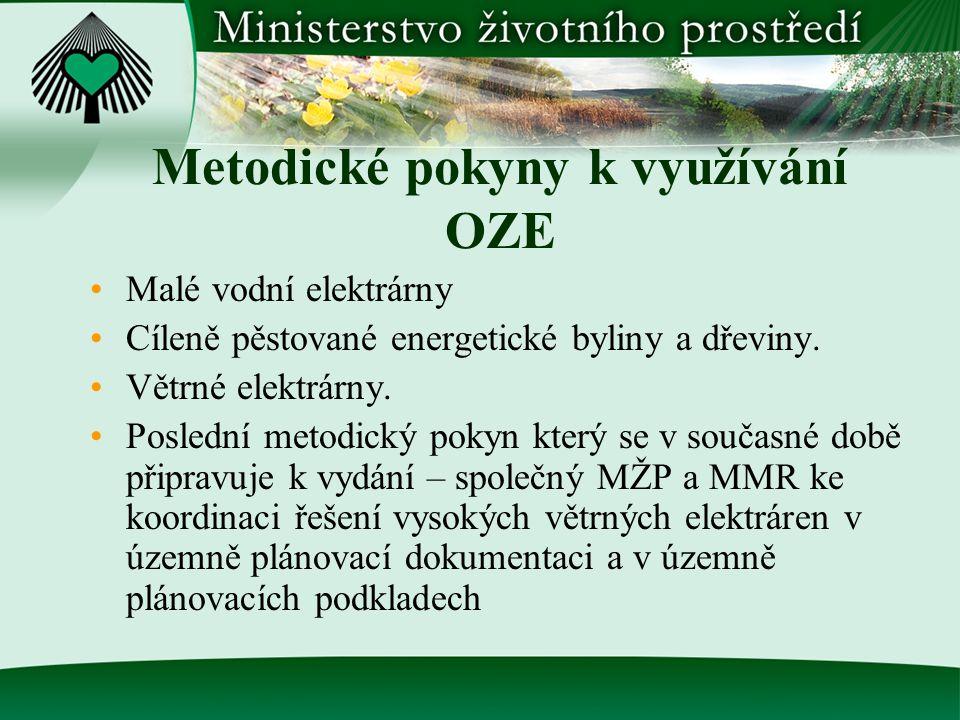 Metodické pokyny k využívání OZE