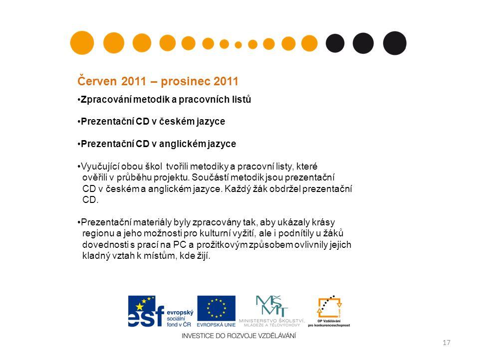Červen 2011 – prosinec 2011 Zpracování metodik a pracovních listů