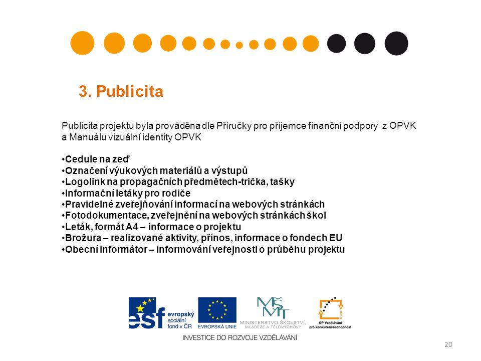 3. Publicita Publicita projektu byla prováděna dle Příručky pro příjemce finanční podpory z OPVK a Manuálu vizuální identity OPVK.