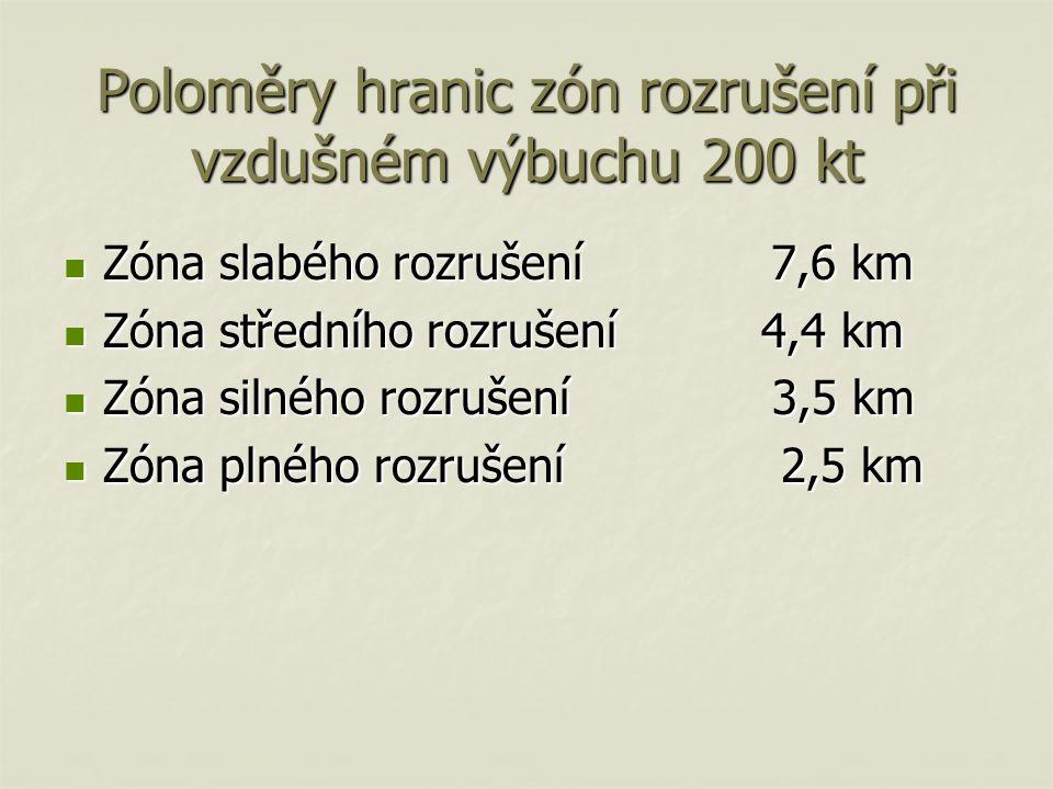 Poloměry hranic zón rozrušení při vzdušném výbuchu 200 kt
