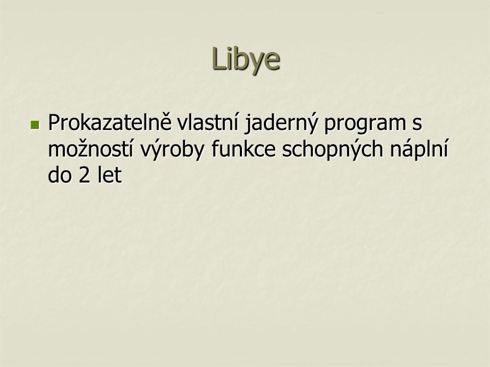 Libye Prokazatelně vlastní jaderný program s možností výroby funkce schopných náplní do 2 let
