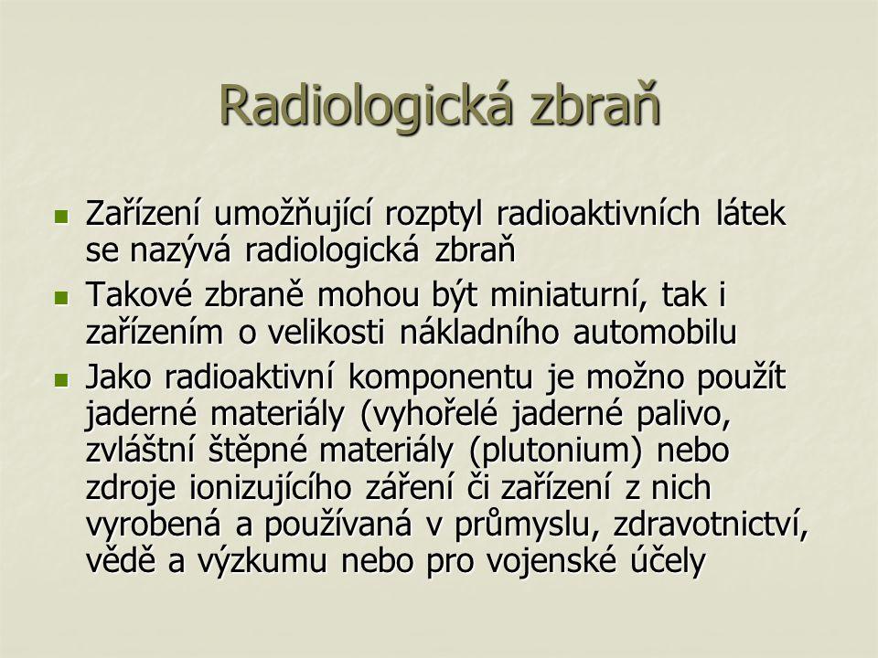 Radiologická zbraň Zařízení umožňující rozptyl radioaktivních látek se nazývá radiologická zbraň.