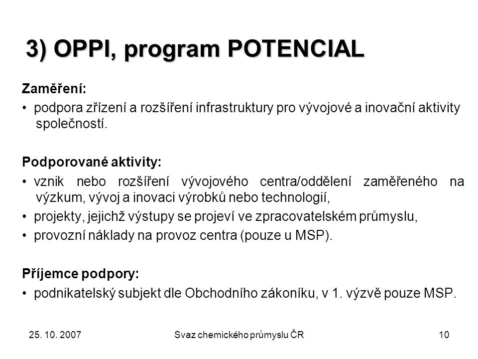 3) OPPI, program POTENCIAL