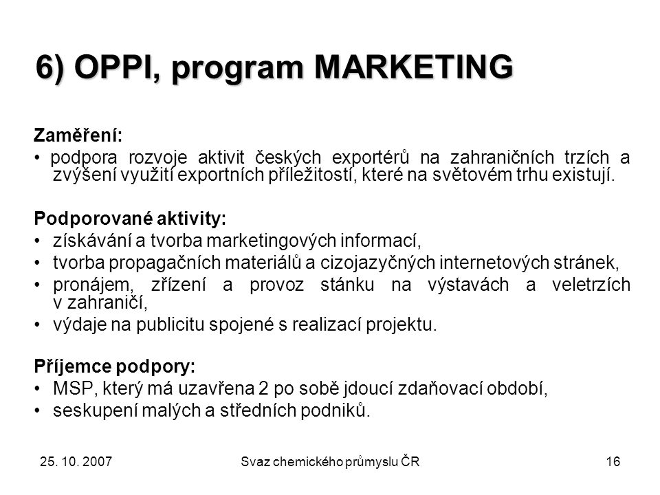 6) OPPI, program MARKETING