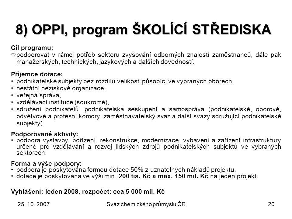 8) OPPI, program ŠKOLÍCÍ STŘEDISKA
