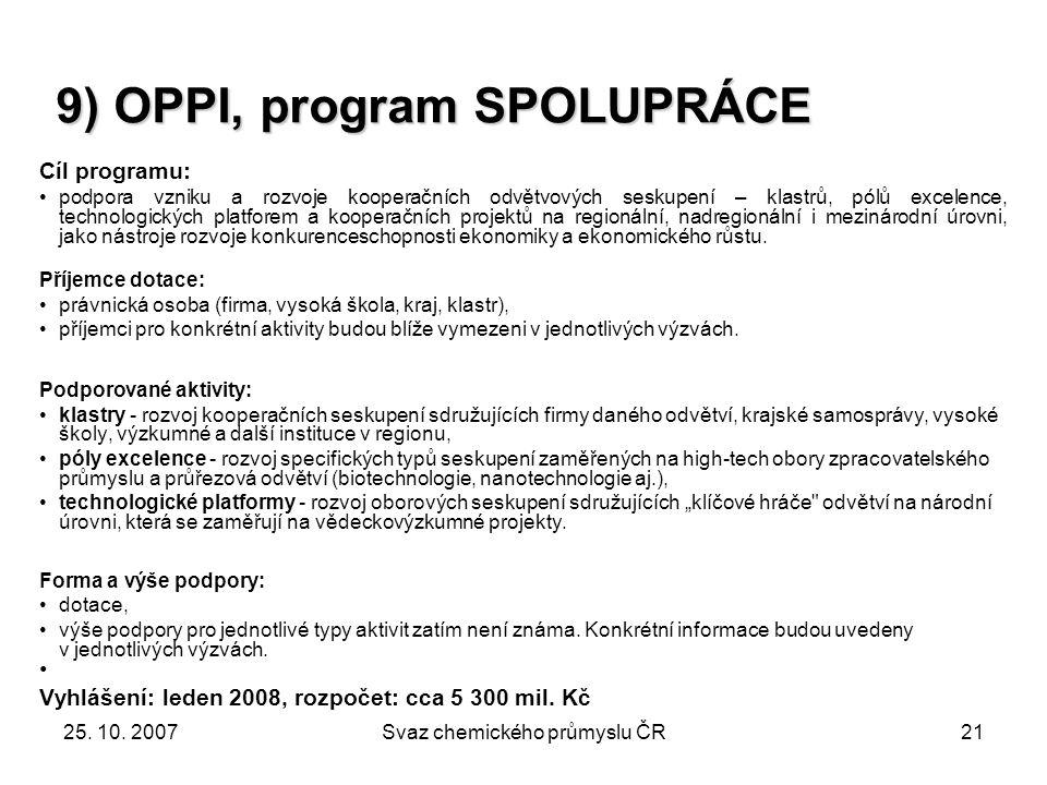 9) OPPI, program SPOLUPRÁCE