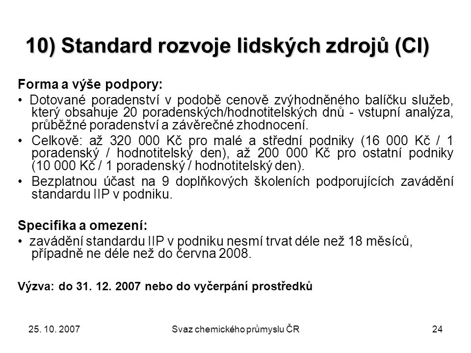 10) Standard rozvoje lidských zdrojů (CI)