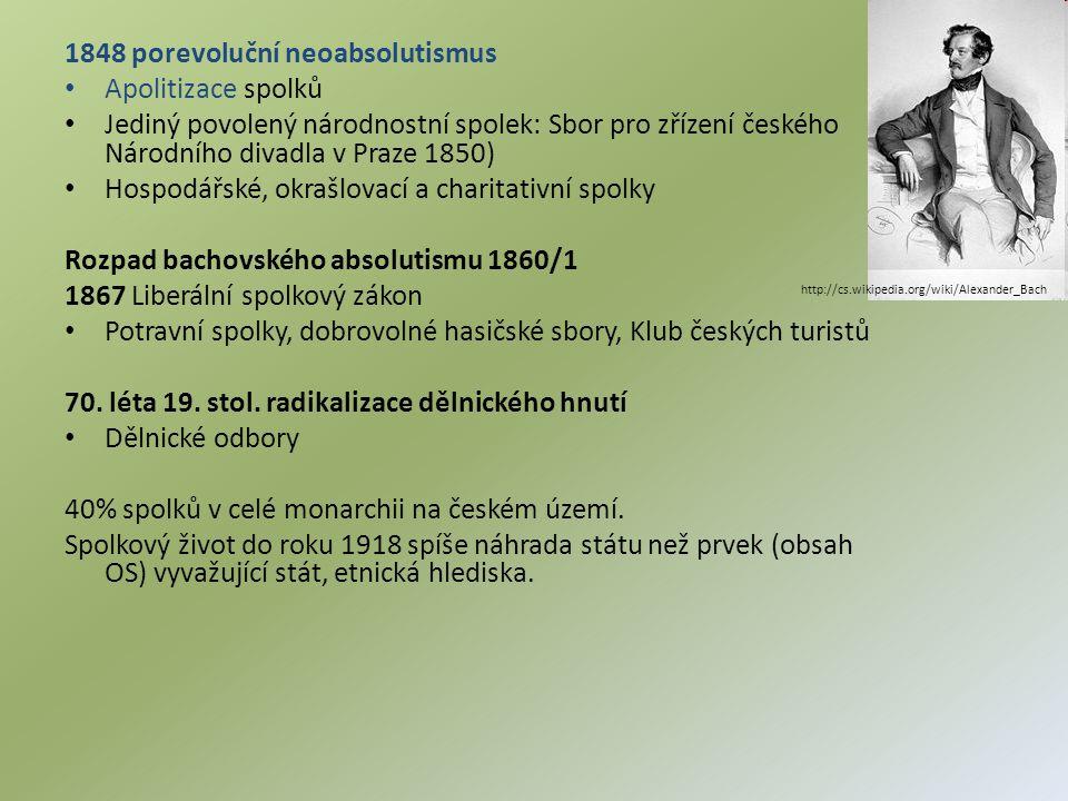 1848 porevoluční neoabsolutismus Apolitizace spolků