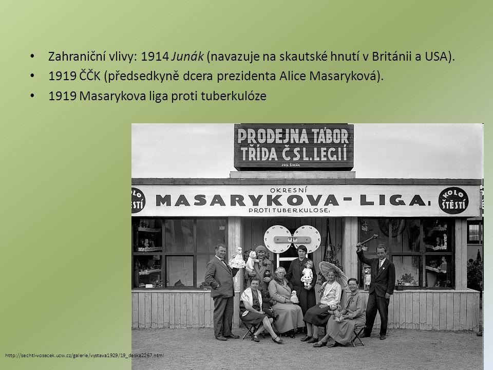 1919 ČČK (předsedkyně dcera prezidenta Alice Masaryková).