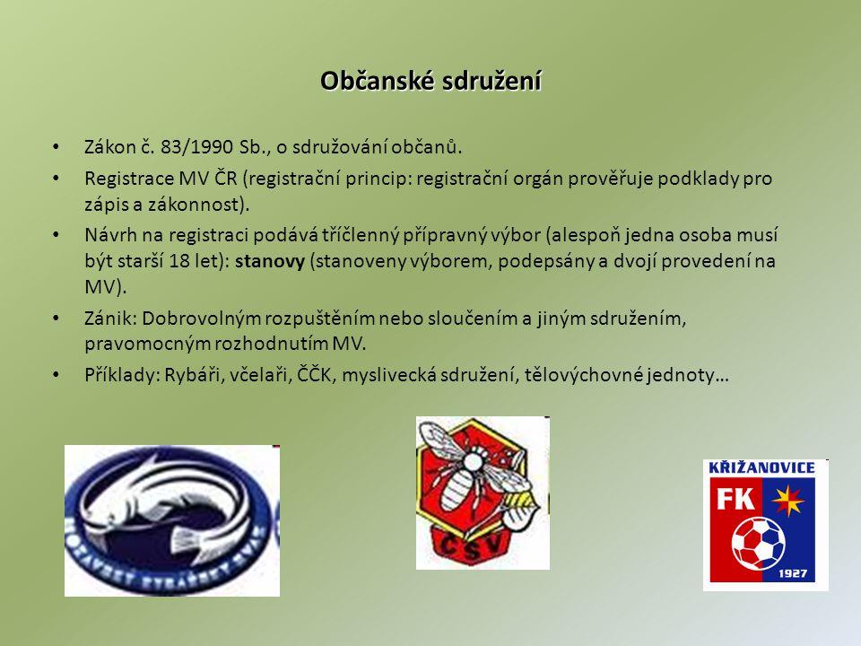 Občanské sdružení Zákon č. 83/1990 Sb., o sdružování občanů.