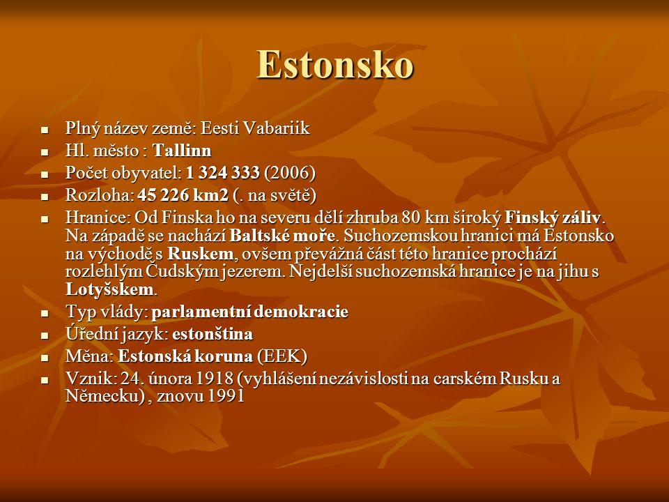 Estonsko Plný název země: Eesti Vabariik Hl. město : Tallinn