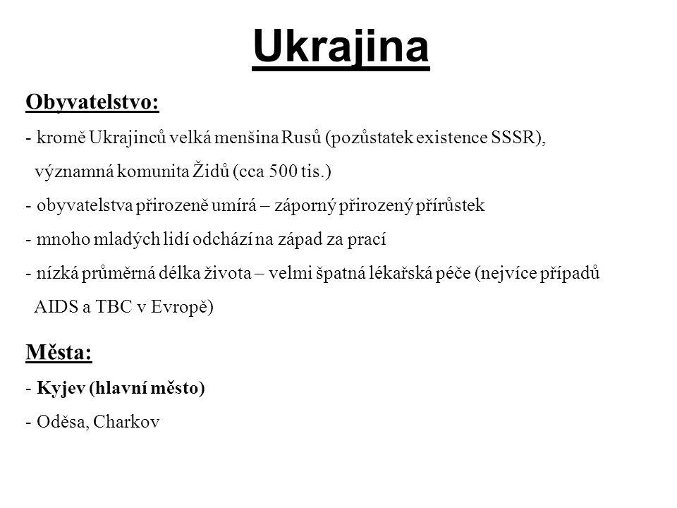 Ukrajina Obyvatelstvo: Města: