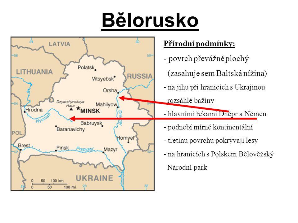 Bělorusko Přírodní podmínky: povrch převážně plochý