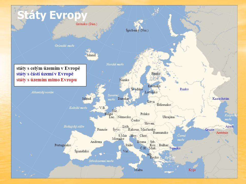Státy Evropy státy s celým územím v Evropě